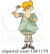 Cartoon Chubby Blond White Woman With Flabby Arms Pointing To The Problem