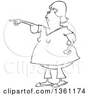 Clipart Of A Cartoon Black And White Chubby Woman With Flabby Arms Pointing Royalty Free Vector Illustration