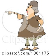 Cartoon Chubby Brunette White Woman With Flabby Arms Pointing