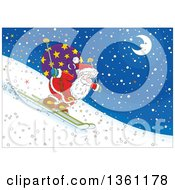 Clipart Of Santa Skiing Downhill At Night Royalty Free Vector Illustration by Alex Bannykh