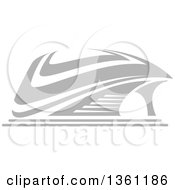 Clipart Of A Gray Sports Stadium Arena Building Royalty Free Vector Illustration