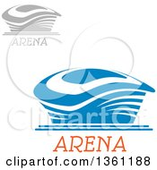 Clipart Of Blue And Gray Sports Stadium Arena Buildings With Text Royalty Free Vector Illustration