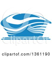 Clipart Of A Blue Sports Stadium Arena Building Royalty Free Vector Illustration