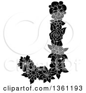 Clipart Of A Black And White Floral Uppercase Alphabet Letter J Royalty Free Vector Illustration