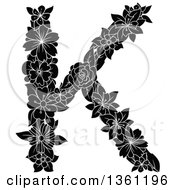 Clipart Of A Black And White Floral Uppercase Alphabet Letter K Royalty Free Vector Illustration