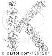 Clipart Of A Black And White Lineart Floral Uppercase Alphabet Letter K Royalty Free Vector Illustration
