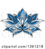 Clipart Of A Blue White And Black Henna Lotus Flower Royalty Free Vector Illustration