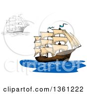 Clipart Of Sketched Ships Royalty Free Vector Illustration
