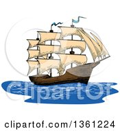 Clipart Of A Sketched Ship Royalty Free Vector Illustration by Vector Tradition SM