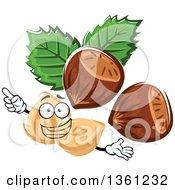 Clipart Of A Cartoon Hazelnuts Character Royalty Free Vector Illustration