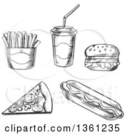 Clipart Of Black And White Sketched Fast Foods Royalty Free Vector Illustration by Vector Tradition SM