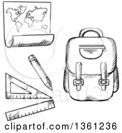 Clipart Of A Black And White Sketched Backpack Ruler And Map Royalty Free Vector Illustration by Vector Tradition SM