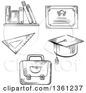 Clipart Of A Black And White Sketched Diploma Graduation Cap Books Ruler And Backpack Royalty Free Vector Illustration