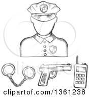 Clipart Of A Black And White Sketched Police Avatar With Accessories Royalty Free Vector Illustration