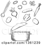 Clipart Of A Black And White Sketched Soup Pot And Vegetables Royalty Free Vector Illustration