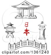 Clipart Of A Black And White Sketched Japanese Bridge Temple And Stone Lanterns Royalty Free Vector Illustration by Vector Tradition SM