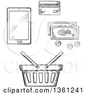 Clipart Of A Black And White Sketched Shopping Basket Smart Phone Cash And Credit Card Royalty Free Vector Illustration