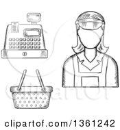 Black And White Sketched Cashier Register And Basket