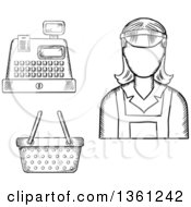 Clipart Of A Black And White Sketched Cashier Register And Basket Royalty Free Vector Illustration