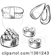 Clipart Of A Black And White Sketched Sea Mussel Sushi Rolls And Nigiri Sushi Royalty Free Vector Illustration by Vector Tradition SM