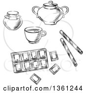 Clipart Of A Black And White Sketched Cup Of Coffee Chocolate Bar Honey Jar Waffle Rolls And Sugar Bowl Royalty Free Vector Illustration