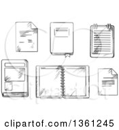 Clipart Of A Black And White Sketched Book Open Spiral Notebook And Notepad Paper Documents And Diary With Ribbon Bookmark Royalty Free Vector Illustration