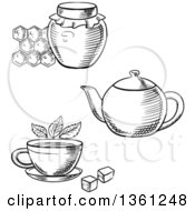 Poster, Art Print Of Black And White Sketched Honey Jar Tea Pot And Cup