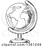 Black And White Sketched Desk Globe