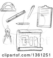 Clipart Of Black And White Sketched Drafting Tools Royalty Free Vector Illustration