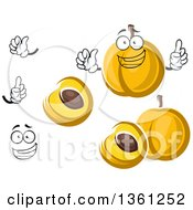 Clipart Of A Cartoon Face Hands And Apricots Royalty Free Vector Illustration