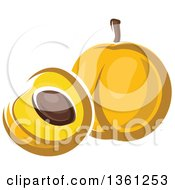 Clipart Of A Cartoon Apricot Royalty Free Vector Illustration