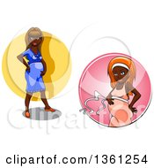 Clipart Of Cartoon Pregnant Black Women Royalty Free Vector Illustration