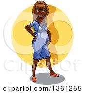 Poster, Art Print Of Cartoon Pregnant Black Woman Over A Yellow Circle
