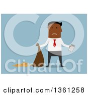 Clipart Of A Flat Design Black Business Man Holding A Calculator And Leaking Money Bag On A Blue Background Royalty Free Vector Illustration
