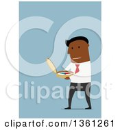 Clipart Of A Flat Design Black Business Man Using A Compass On A Blue Background Royalty Free Vector Illustration