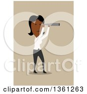 Clipart Of A Flat Design Black Business Woman Using A Telescope On A Tan Background Royalty Free Vector Illustration by Vector Tradition SM