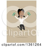 Clipart Of A Flat Design Black Business Woman Holding Cash And Jumping On A Tan Background Royalty Free Vector Illustration by Vector Tradition SM