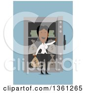 Clipart Of A Flat Design Black Business Woman In Front Of A Full Safe On A Blue Background Royalty Free Vector Illustration