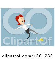 Clipart Of A Flat Design Red Haired White Business Woman Slipping On A Banana Peel On A Blue Background Royalty Free Vector Illustration