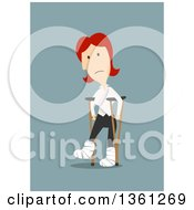 Clipart Of A Flat Design Red Haired White Business Woman Walking With Crutches On A Blue Background Royalty Free Vector Illustration
