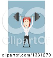Clipart Of A Flat Design Red Haired White Business Woman Lifting A Barbell Over Her Head On A Blue Background Royalty Free Vector Illustration by Vector Tradition SM