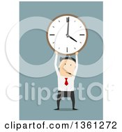 Clipart Of A Flat Design White Business Man Holding Up A Clock On A Blue Background Royalty Free Vector Illustration by Vector Tradition SM