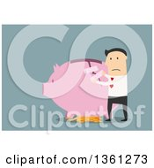 Clipart Of A Flat Design White Business Man Taping Up A Broken Piggy Bank On A Blue Background Royalty Free Vector Illustration