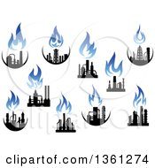 Black And Blue Natural Gas And Flame Factory Designs