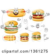 Clipart Of Faces Hands Hot Dogs And Cheeseburgers Royalty Free Vector Illustration