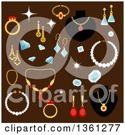 Clipart Of Gems And Jewelery On Brown Royalty Free Vector Illustration