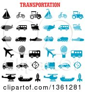 Clipart Of Black And Blue Transportation Icons With Text Royalty Free Vector Illustration by Seamartini Graphics