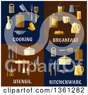 Clipart Of Cooking Breakfast Utensil And Kitchenware Flat Designs Royalty Free Vector Illustration