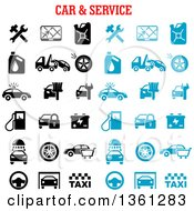 Clipart Of Black And Blue Automotive Icons With Text Royalty Free Vector Illustration by Vector Tradition SM