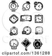 Clipart Of Black And White Watch Clock And 24 Hour Designs Royalty Free Vector Illustration